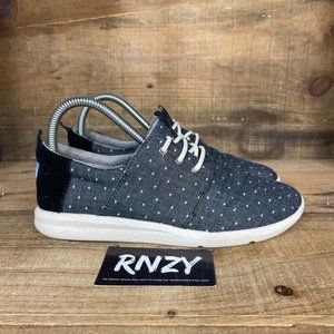 Toms Del Rey Black White Polka Dot Lace Up Sneaker